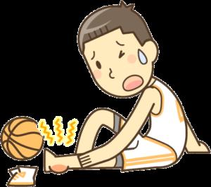 スポーツで捻挫した男の子のイラスト