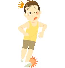 スポーツ外傷の男の子のイラスト